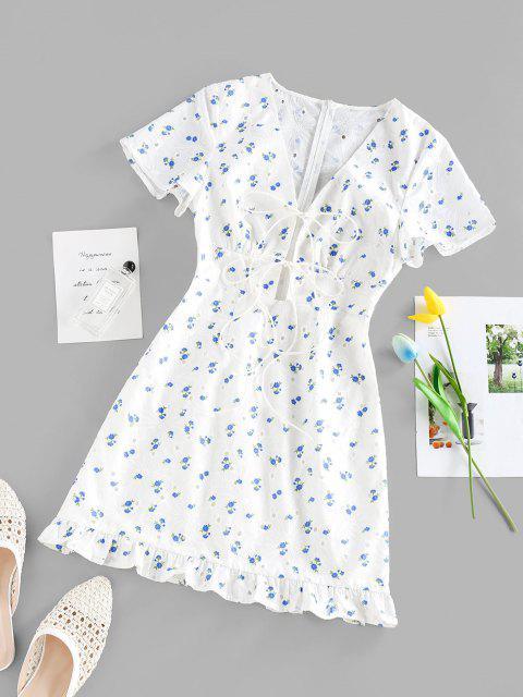 shops ZAFUL Flower Print Eyelet Tie Front Ruffle Dress - WHITE L Mobile