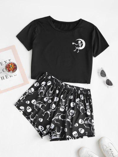 Lounge Skull Moon Print Holloween Two Piece Set - Black S