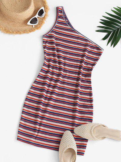 ZAFUL One Shoulder Striped Bodycon Dress - Red S