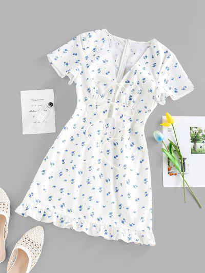 ZAFUL Flower Print Eyelet Tie Front Ruffle Dress - White M