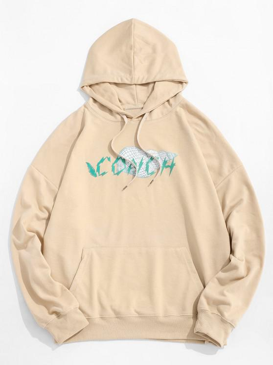 fancy Conch Graphic Print Kangaroo Pocket Hoodie - LIGHT KHAKI M