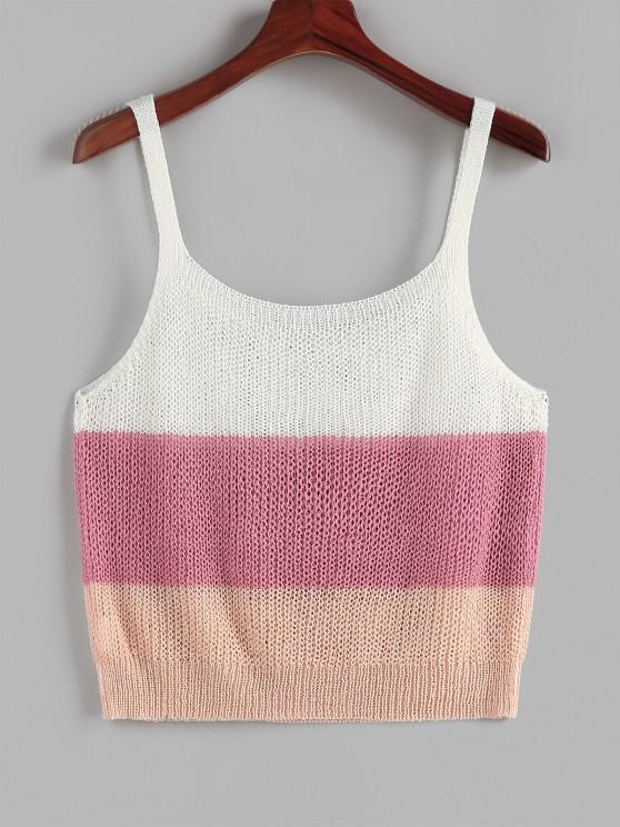 women's ZAFUL Ladder Colorblock Plus Size Sweater Vest - MULTI L