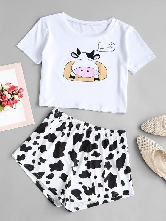 Conjunto de Duas Peças de Vaca Engraçado - Branco S