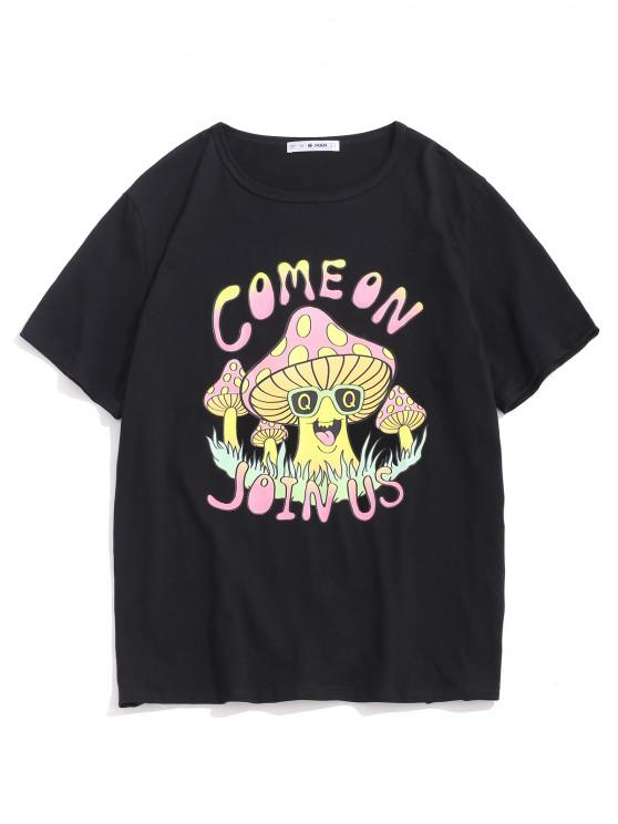T-shirt Graphique Champignon Dessin Animé à Manches Courtes - Noir M