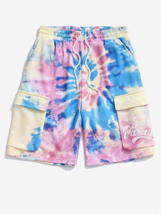 Pantaloncini Jammer di Tie-Dye con Stampa Lettere - Multi Colori L