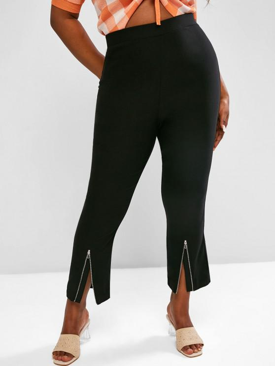 outfits ZAFUL Plus Size Zip Hem Cropped Boot Cut Pants - BLACK L