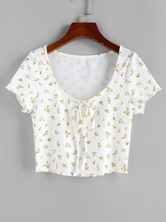 ZAFUL T-shirt Côtelé Fleur à Ourlet en Laitue - Blanc S