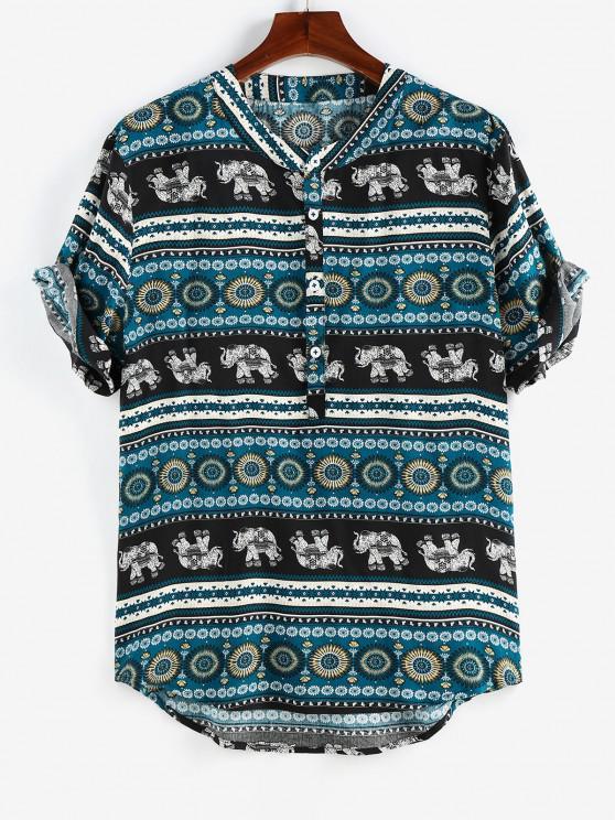 new ZAFUL Bohemian Elephant Print Half Button Shirt - BLACK M