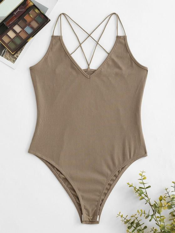 outfit ZAFUL Dual Straps Rib-knit Snap Crotch Bodysuit - LIGHT COFFEE M