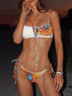 ZAFUL Costume Da Bagno Bikini Annodato A Costine Con Stampa Pelle Di Serpente - Arancio M