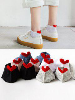 5 Pair Heart Shape Anti-Chafe Tab Ankle Socks Set - Multi