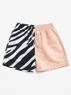 Striped Naughty Face Half And Half Print Shorts - Black Xl