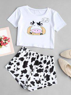 Lounge Funny Cow Two Piece Set - White M