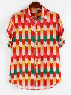 ZAFUL Colorful Pinstripe Geometric Shirt - Red M