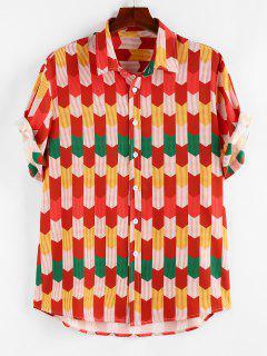 ZAFUL Colorful Pinstripe Geometric Shirt - Red S