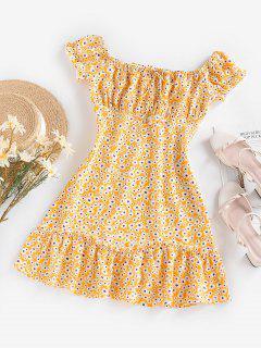 ZAFUL Flower Ruffle Keyhole Ruched Bust Dress - Yellow S