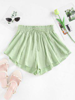 ZAFUL Tie Frilled Wide Leg Swingy Shorts - Light Green S