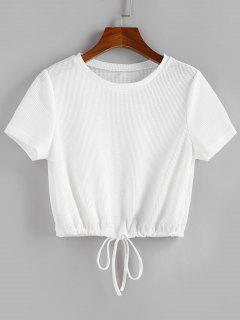 ZAFUL Drawstring Hem Knitted T Shirt - White S