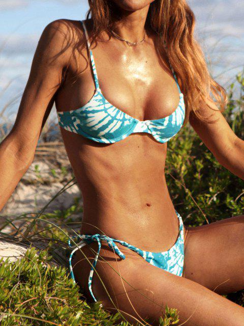 women ZAFUL Ribbed Tie Dye String Bikini Swimwear - BLUE L Mobile