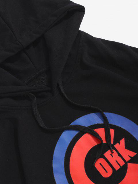 sale Letter Graphic Printed Kangaroo Pocket Hoodie - BLACK S Mobile
