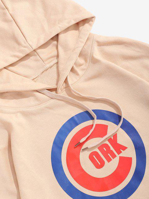 outfit Letter Graphic Printed Kangaroo Pocket Hoodie - LIGHT KHAKI M Mobile