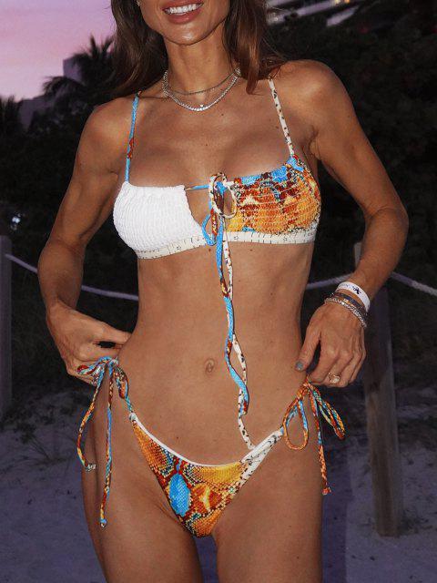 shop ZAFUL Ribbed Snake Print Tie Smocked Bikini Swimwear - ORANGE S Mobile
