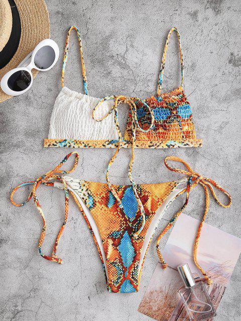 ZAFUL Costume da Bagno Bikini Annodato a Costine con Stampa Pelle di Serpente - Arancio M Mobile