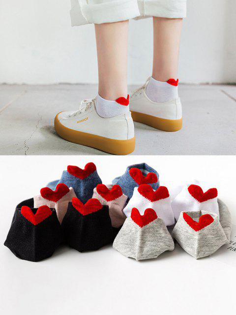 5 Pair Heart Shape Anti-Chafe Tab Ankle Socks Set - متعدد  Mobile