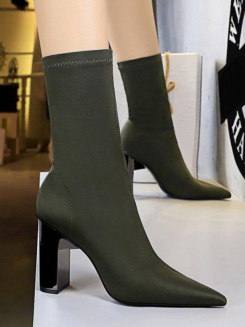 affordable Stretch Solid Stitching Chunky Heel Mid Calf Boots - GREEN EU 40 Mobile