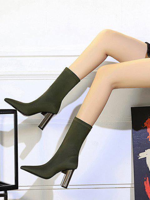 Bottes Mi-Mollet à Talons Épais Stretch de Couleur Unie avec Coutures - Vert EU 38 Mobile