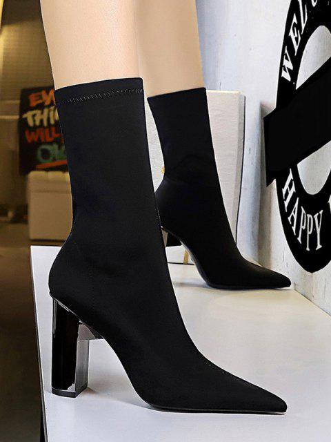 trendy Stretch Solid Stitching Chunky Heel Mid Calf Boots - BLACK EU 38 Mobile
