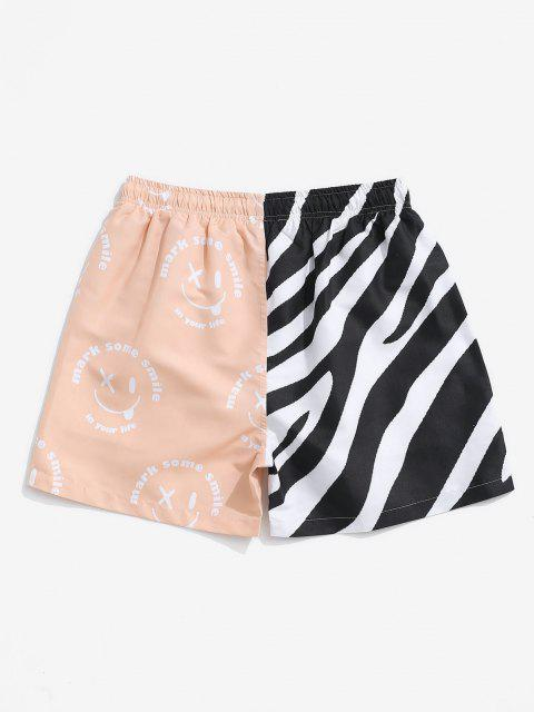 unique Striped Naughty Face Half And Half Print Shorts - BLACK M Mobile