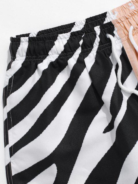 new Striped Naughty Face Half And Half Print Shorts - BLACK 2XL Mobile