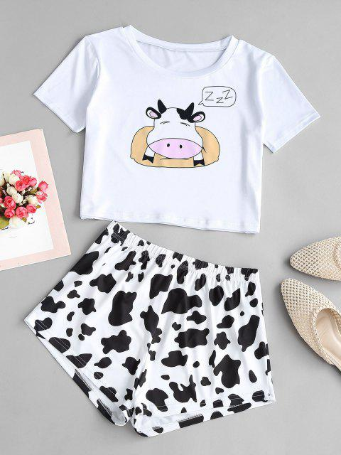 trendy Lounge Funny Cow Two Piece Set - WHITE S Mobile