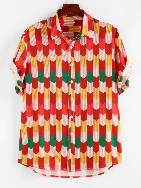 best ZAFUL Colorful Pinstripe Geometric Shirt - RED XXL Mobile