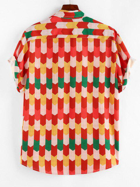 ZAFUL Colorful Pinstripe Geometric Shirt - أحمر M Mobile