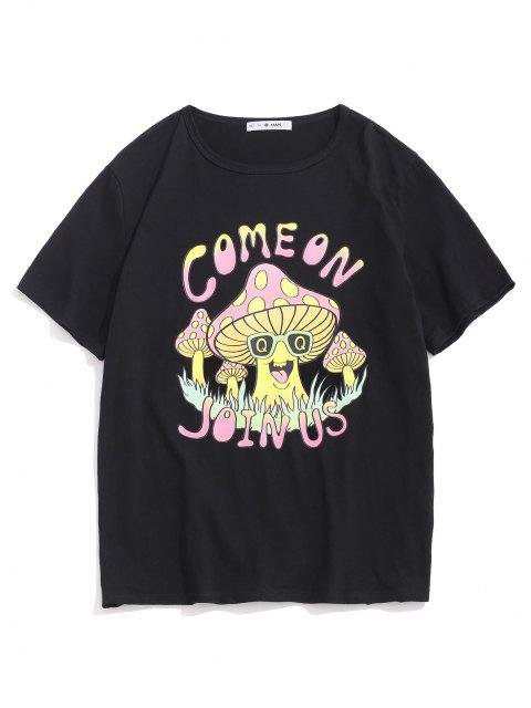 Maglietta a Maniche Corte con Motivo a Fungo e Cartone - Nero M Mobile