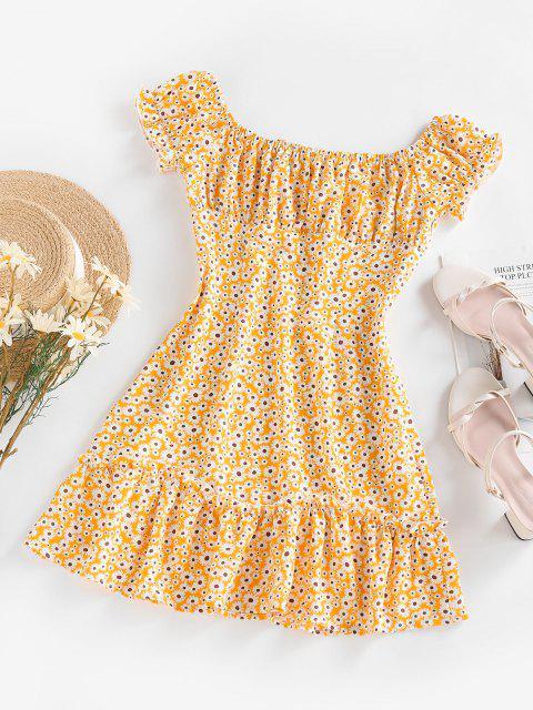 lady ZAFUL Flower Ruffle Keyhole Ruched Bust Dress - YELLOW S Mobile