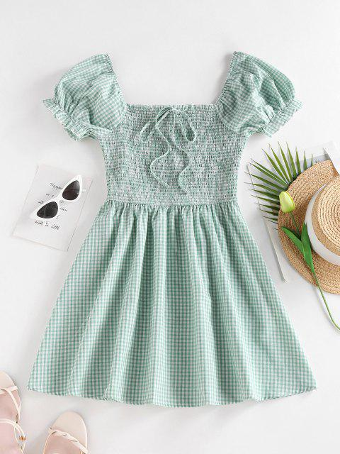 chic ZAFUL Gingham Smocked Puff Sleeve Dress - LIGHT GREEN M Mobile