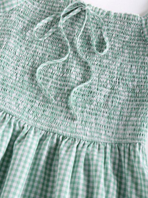unique ZAFUL Gingham Smocked Puff Sleeve Dress - LIGHT GREEN S Mobile