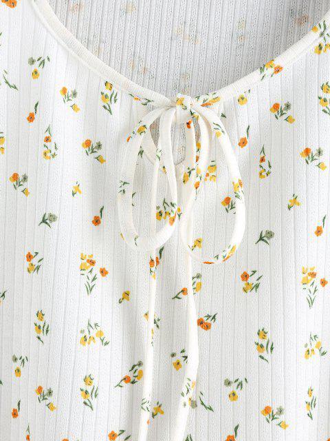 online ZAFUL Ribbed Flower Keyhole Lettuce Trim T Shirt - WHITE S Mobile