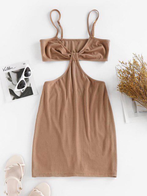 ZAFUL Bodycon Geripptes Kleid - Kaffee M Mobile