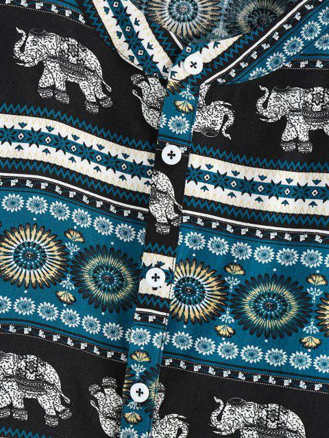 ZAFUL Bohemian Elefantdruck Halber Knopf Hemd - Schwarz XL Mobile