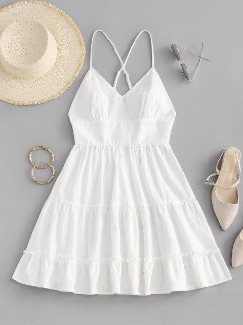 ZAFUL Kreuzes und Queres Geschichtetes Sommerkleid mit Rüschen - Weiß XL Mobile