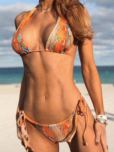 ZAFUL Dalmatian Snake Print Ribbed Tie Convertible Bikini Swimwear - Dark Orange L