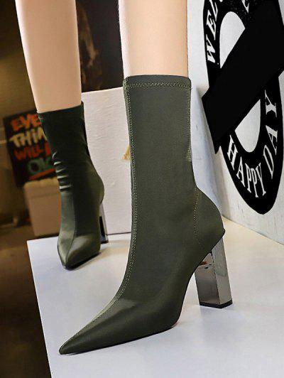 Stretch Solid Stitching Chunky Heel Mid Calf Boots - Green Eu 37