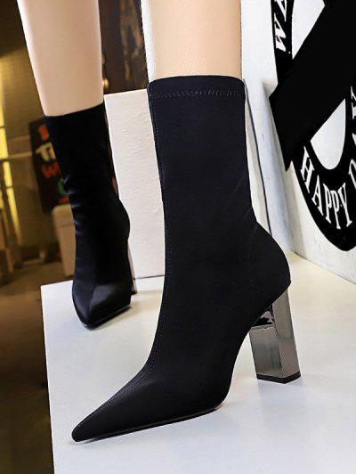 Stretch Solid Stitching Chunky Heel Mid Calf Boots - Black Eu 40