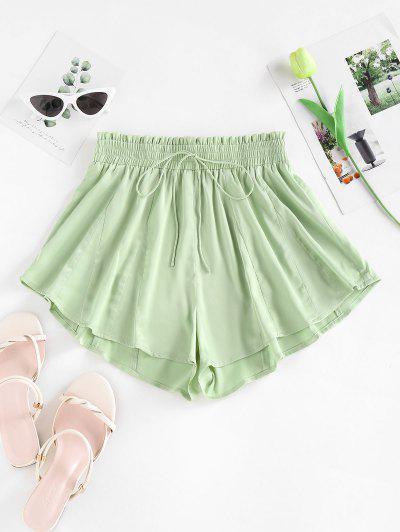 ZAFUL Tie Frilled Wide Leg Swingy Shorts - Light Green M