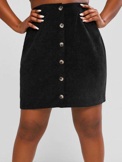 ZAFUL Button Up  Corduroy Plus Size Mini Skirt - Black 2xl