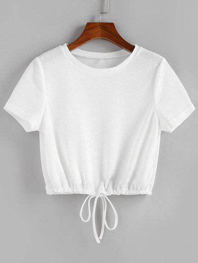 ZAFUL Drawstring Hem Knitted T Shirt - White M